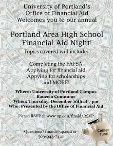 Portland Area HS FinAid Night Poster